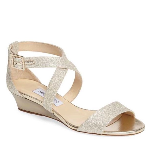cd3761ae3fd Jimmy Choo Shoes | Chiara Wedge Sandals In Platinum Ice | Poshmark